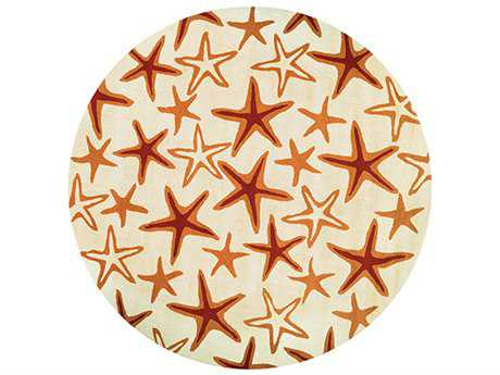 Couristan Beachfront Starfish Round Ivory & Coral Area Rug