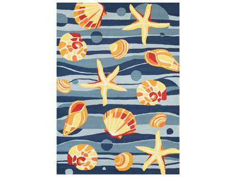 Couristan Beachfront Gold Beach Rectangular Azure & Navy & Citrus Area Rug
