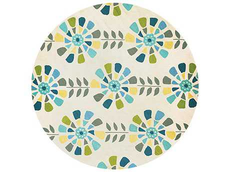 Couristan Beachfront Flower Blooms Round Blue & Ivory Area Rug