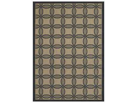 Couristan Five Seasons Retro Clover Rectangular Black & Cream Area Rug