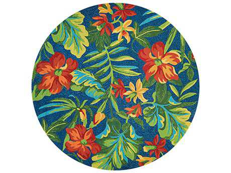 Couristan Covington Tropical Orchid Round Azure & Forest Green & Red Area Rug