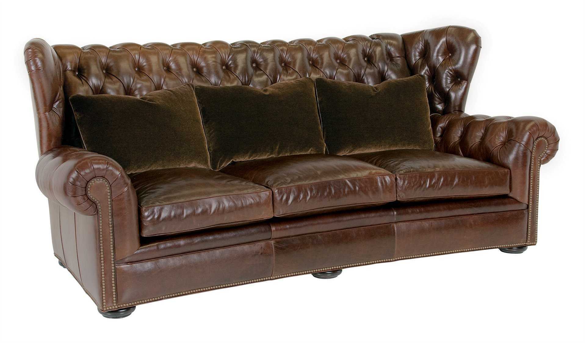 Classic leather pomeroy tufted sofa cl