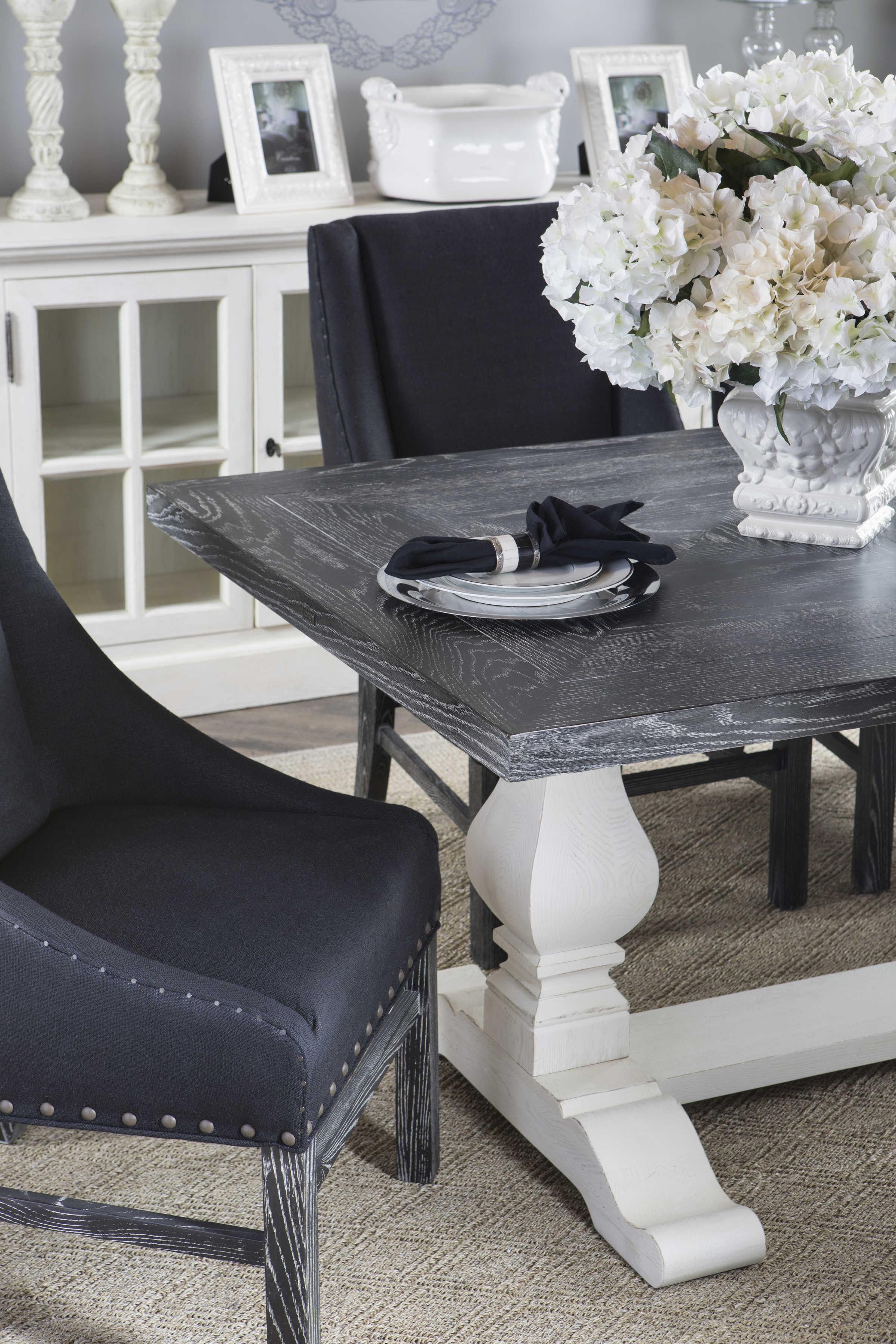 ... Table · Curations Limited Trestle New Vintage Black U0026 White Oak 84u0027u0027 ...