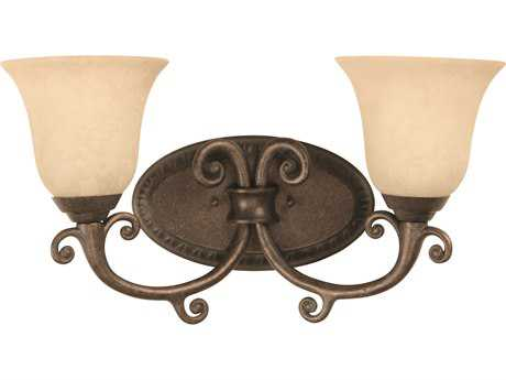 Craftmade Jeremiah Aztec Two-Light Vanity Light in Peruvian Bronze with Antique Scavo Glass