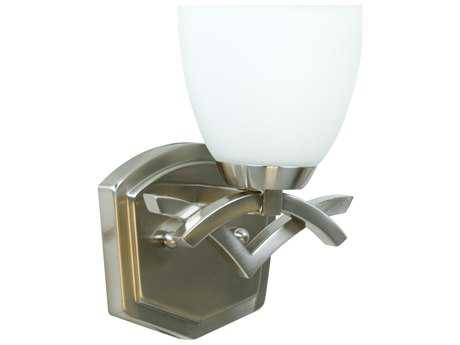 Craftmade Jeremiah View Point Wall Sconce in Brushed Satin Nickel with Cased Frost White Glass