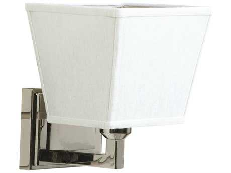Craftmade Jeremiah Denton Wall Sconce in Polished Nickel with White Linen/Champagne Linen Fabric