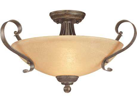 Craftmade Jeremiah Brookfield Three-Light Semi-Flushmount Light in Brownstone with Tea-Stained Alabaster Glass