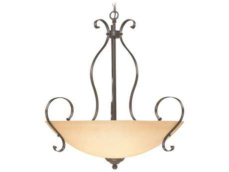 Craftmade Jeremiah Brookfield Five-Light Inverted Pendant Light in Brownstone with Tea-Stained Alabaster Glass