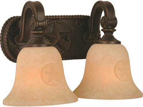 Craftmade Jeremiah Chaparral Two-Light Vanity Light in Antique Bronze with Antique Scavo Glass
