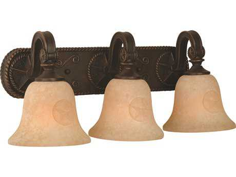 Craftmade Jeremiah Chaparral Three-Light Vanity Light in Antique Bronze with Antique Scavo Glass