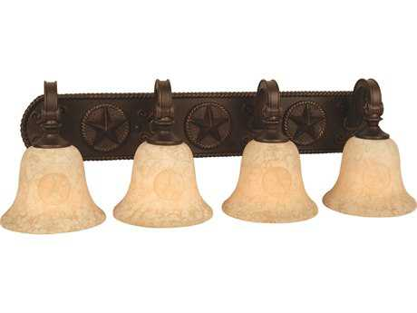 Craftmade Jeremiah Chaparral Four-Light Vanity Light in Antique Bronze with Antique Scavo Glass
