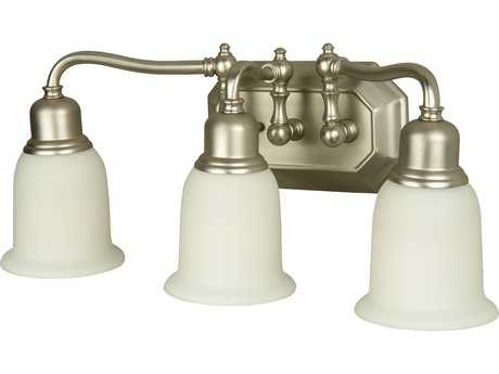 Craftmade Jeremiah Heritage Three-Light Vanity Light in Brushed Satin Nickel with Frosted White Glass