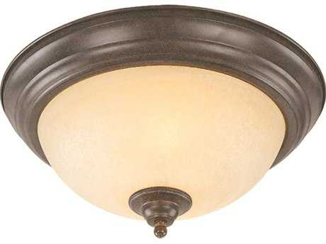 Craftmade Jeremiah Brookfield Flushmount Light in Brownstone with Tea-Stained Alabaster Glass