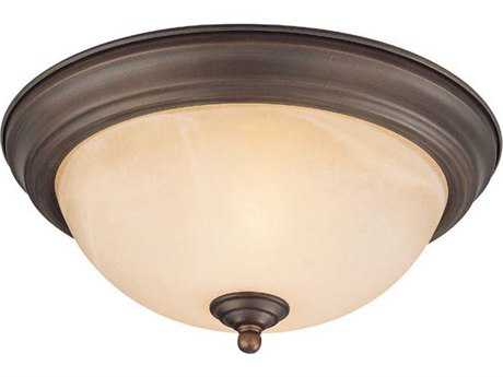 Craftmade Jeremiah Flushmount Light in Oiled Bronze with Warm Faux Alabaster Glass