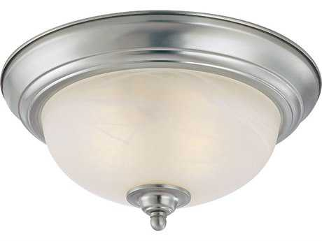 Craftmade Jeremiah Flushmount Light in Satin Nickel with Faux Alabaster Glass