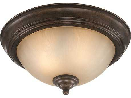 Craftmade Jeremiah Two-Light Flushmount Light in Century Bronze with Distressed Mocha Etched Glass