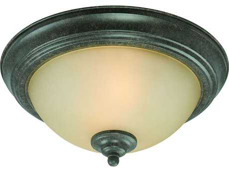 Craftmade Jeremiah Two-Light Flushmount Light in English Toffee with Light Umber Etched Glass