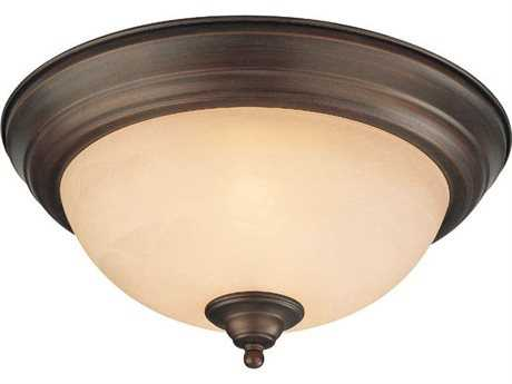 Craftmade Jeremiah Two-Light Flushmount in Oiled Bronze with Warm Faux Alabaster Glass