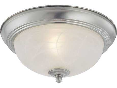 Craftmade Jeremiah Two-Light Flushmount Light in Satin Nickel with Faux Alabaster Glass