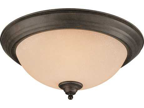 Craftmade Jeremiah Three-Light Flushmount Light in Brownstone with Tea-Stained Alabaster Glass