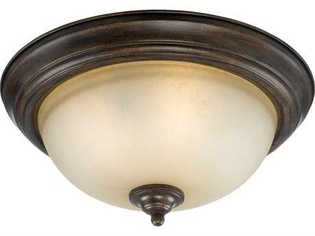 Craftmade Jeremiah Three-Light Flushmount Light in Century Bronze with Distressed Mocha Etched Glass