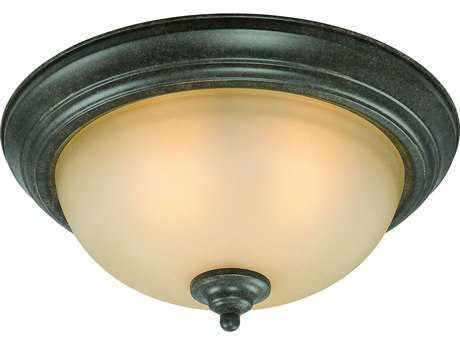 Craftmade Jeremiah Three-Light Flushmount Light in English Toffee with Light Umber Etched Glass