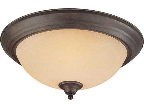 Craftmade Jeremiah Three-Light Flushmount Light in Forged Metal with Tea-Stained Scavo Glass
