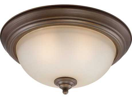 Craftmade Jeremiah Three-Light Flushmount Light in Legacy Brass with Tea-Stained Glass