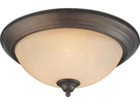 Craftmade Jeremiah Three-Light Flushmount Light in Oiled Bronze with Warm Faux Alabaster Glass
