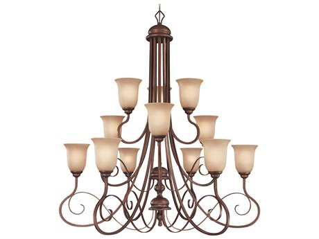 Craftmade Jeremiah Preston Place 12-Light Chandelier in Augustine with Light Umber Etched Glass