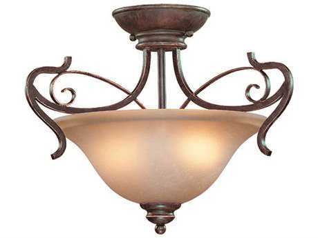 Craftmade Jeremiah Preston Place Two-Light Semi-Flushmount Light in Augustine with Light Umber Etched Glass