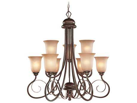 Craftmade Jeremiah Preston Place Nine-Light Chandelier in Augustine with Light Umber Etched Glass