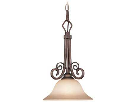 Craftmade Jeremiah Preston Place Pendant Light in Augustine with Light Umber Etched Glass