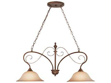 Craftmade Jeremiah Preston Place Two-Light Island Light in Augustine with Light Umber Etched Glass