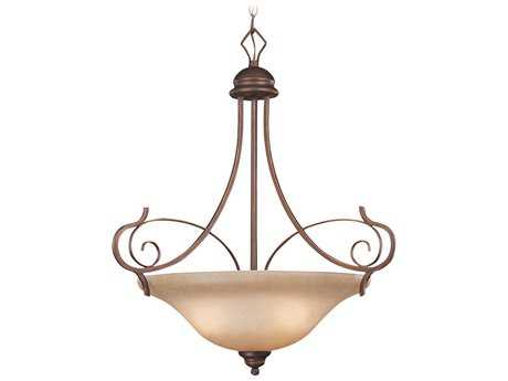 Craftmade Jeremiah Preston Place Three-Light Inverted Pendant Light in Augustine with Light Umber Etched Glass