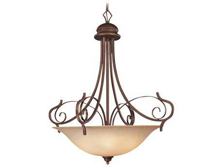 Craftmade Jeremiah Preston Place Five-Light Inverted Pendant Light in Augustine with Light Umber Etched Glass