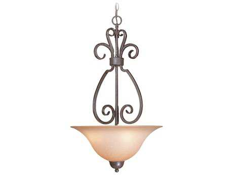 Craftmade Jeremiah Sheridan Three-Light Inverted Pendant Light in Forged Metal with Light Umber Etched Glass