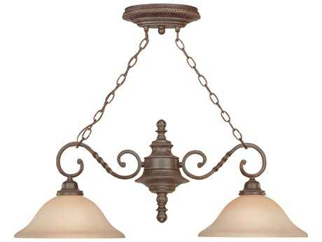 Craftmade Jeremiah Sutherland Two-Light Island Light in English Toffee with Light Umber Etched Glass