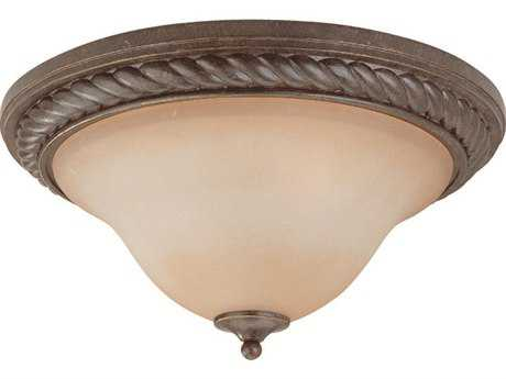 Craftmade Jeremiah Sutherland Two-Light Flushmount Light in English Toffee with Light Umber Etched Glass