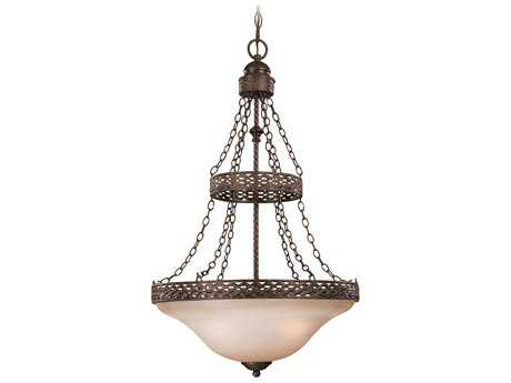Craftmade Jeremiah Brookshire Manor Three-Light Inverted Pendant Light in Burnished Armor with Light Umber Etched Glass