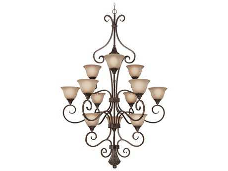 Craftmade Jeremiah Torrey 12-Light Grand Chandelier in Burnished Armor with Light Umber Etched Glass