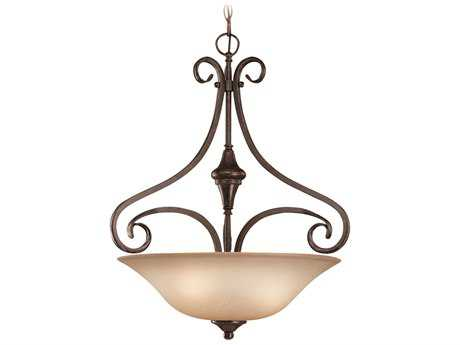 Craftmade Jeremiah Torrey Three-Light Inverted Pendant Light in Burnished Armor with Light Umber Etched Glass