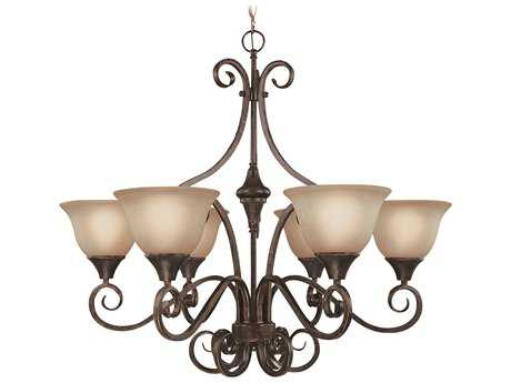 Craftmade jeremiah torrey six light chandelier in burnished armor craftmade jeremiah torrey six light chandelier in burnished armor with light umber etched glass aloadofball Images