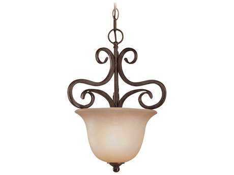 Craftmade Jeremiah Torrey Pendant Light in Burnished Armor with Light Umber Etched Glass