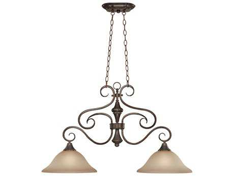 Craftmade Jeremiah Torrey Two-Light Island Light in Burnished Armor with Light Umber Etched Glass