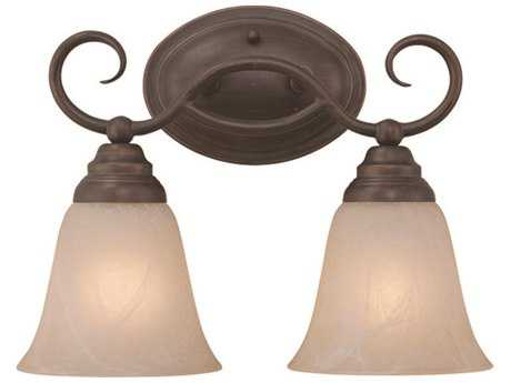 Craftmade Jeremiah Cordova Two-Light Vanity Light in Oiled Bronze with Warm Faux Alabaster Glass