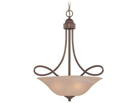 Craftmade Jeremiah Cordova Three-Light Inverted Pendant Light in Oiled Bronze with Warm Faux Alabaster Glass