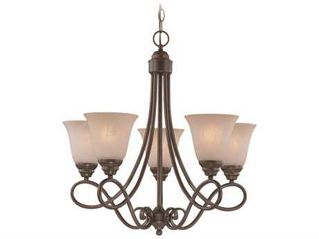 Craftmade Jeremiah Cordova Five-Light Chandelier in Oiled Bronze with Warm Faux Alabaster Glass