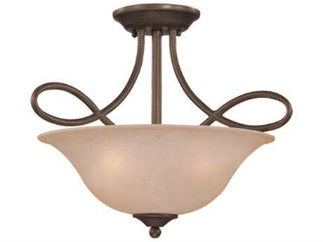 Craftmade Jeremiah Cordova Three-Light Convertible Semi-Flushmount Light in Oiled Bronze with Warm Faux Alabaster Glass