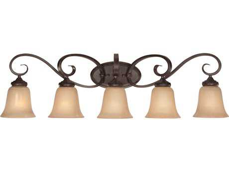 Craftmade Jeremiah Stanton Five-Light Vanity Light in English Toffee with Tea-Stained Glass